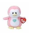 Babyshower meisje knuffeldier Ty Baby roze pinguin Penny 17 cm